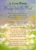 💔Graveside Card IN LOVING MEMORY MISSING YOU SO MUCH Verse Memorial Funeral 💔