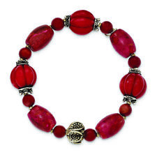 .925 Sterling Silver Antiqued Beads & Red Coral Stretch Bracelet MSRP $140