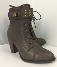 Forever Women's High Heel Boots - Size 9 - Brown, Studded Ankle Strap, EUC