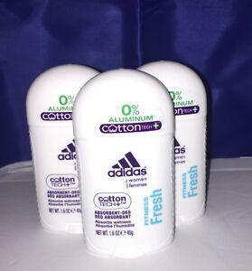 ADIDAS Deodorant - Fitness Fresh - NO Aluminum - COTTON TECH+ Lot of 3