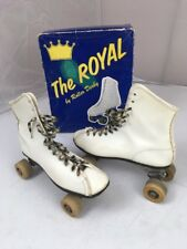 New listing Vintage Roller Derby THE ROYAL M 6 W 7.5 Leather Roller Skates Wood Wheels BOX