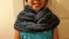 hand-knitted angora cashmere infinity cable scarf(teal)