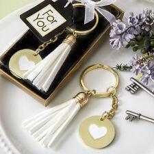 24 Gold Metal Heart Keychain  With Tassel Bridal Shower Wedding Favors