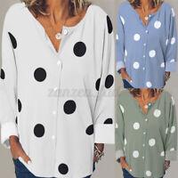 UK Women Polka Dot Long Sleeve Tops Pullover Casual Loose Tee Shirt Blouse Plus