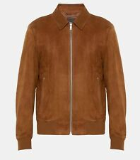 Theory Men's Noland Zip Suede Bomber - Tobacco - Size Small