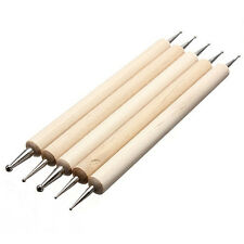 5pcs 2 Ways Wood Wooden Dot Dotting Painting Pens for Nail Art Decoration Tools