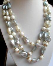 beau collier couleur or 3 rangs perles en résine blanc nacré gris bijou vintage