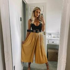BNWT ZARA YELLOW PLEATED CULOTTE TROUSERS SIZE M