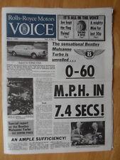 THE ROLLS ROYCE VOICE MARCH 1982 UK Mkt Internal Newspaper brochure Mulsanne Tur