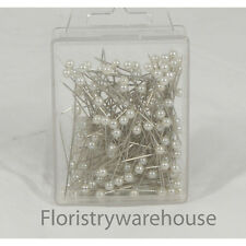 Pearl head pins White florists corsage craft buttonhole 4cm Box of 144