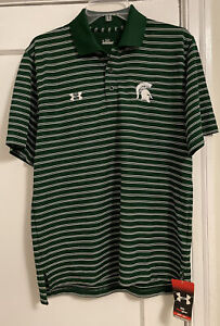 NWT Under Armour Michigan State Spartans Logo Heat Gear S/S Polo Men's Sz S!