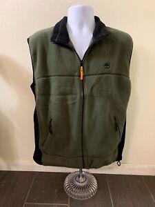 Timberland Weathergear Green Fleece Vest Full Zip Men Size Large