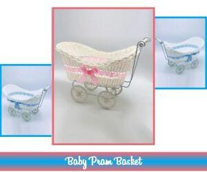 PRAM HAMPER WICKER BABY BASKET BABY SHOWER PARTY GIFTS BOYS GIRLS NEW BORN