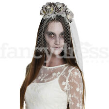 Halloween Skull Ghost Bride Grey Flower Veil Fancy Dress Costume Headband NEW