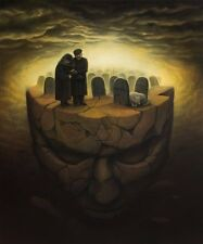 "Jewish Cemetery Hebrew Original Signed Fantasy Surrealism Oil Painting 30"" x 36"""