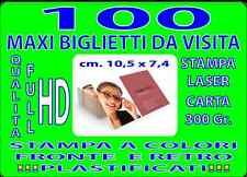 100 BIGLIETTI DA VISITA MAXI CM 7 X 10  A COLORI FRONTE E RETRO PLASTIFICATI