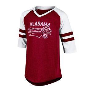 NWT NCAA Alabama Crimson Tide Girl's Large (10-12) V-Neck 3/4 Sleeve Tee Shirt