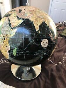 Vintage Peerless Weber Costello 12 inch Globe Black Celestial and Chrome Nice