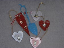 **SHABBY CHIC** Wooden Hearts - Hand crafted hanging decorations