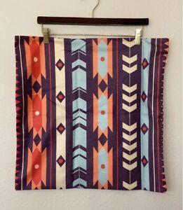 "Multicolor Aztec Design Pillow Cover Purple 20"""