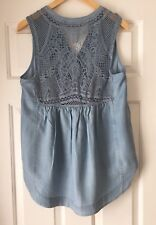 NEW Anthropologie Lorna Crochet Tank Blue Chambray Sleeveless Top Size 10 Denim