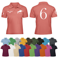 Personalised Ladies Show Jumping Horse Riding Polo Shirt Womens Equestrian Jump
