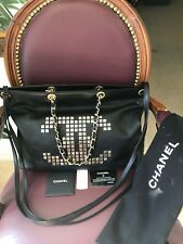 100% AUTHENTIC CHANEL Calfskin 2 Way / 2 Tone Mosaic Studs Hand Bag Excellent !!