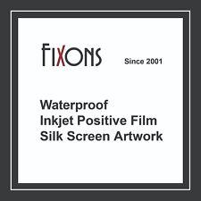 "Waterproof Inkjet Screen Printing Positive Film 8.5""x11"" 100 Sheet"