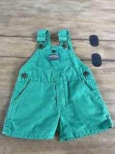 Vintage 1980s OshKosh B'gosh Baby Shorts Overalls Green 24 Months 2T