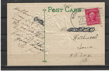 1906 Northwood IA Duplex Cancel on Embossed PC Greetings and All Good Wishes