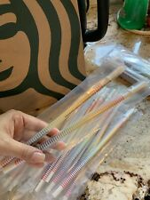 New Starbucks Rainbow Stripe Cold Cup Straw Set of 2 Summer 2019 Sealed Reusable