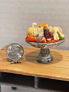 Vintage Artisan IU? Fancy Stone Cheese & Fruit Platter Dollhouse Miniature 1:12