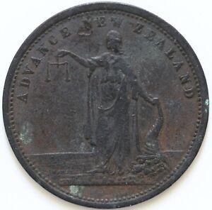 New Zealand Advance 1860 One Penny Token J.M. Merrington & Co, Nelson