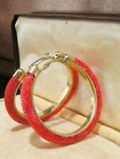 Gold Tone Design Pierced Earrings Unknown Period Large Red Hoop