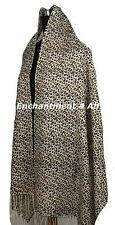 Large Stunning 2-Ply 100% Cashmere Pashmina LEOPARD Shawl Wrap, Brown/Yellow