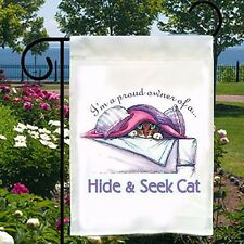 Proud Owner of a Hide and Seek Cat New Small Garden Flag Banner