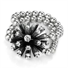 Bead Elastic Bracelet Rhodium Coloured Diamante Flower