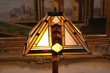 """14.5""""W Mission style Stained Glass Tiffany Style Zinc Base Table Desk Lamp"""