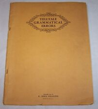 Vintage 1931 Telltale Grammatical Errors Text Book with Test