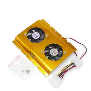 "Aluminum Heatsink Dual 50mm Fan For PC 3.5"" Hard Disk Driver HDD Cooler Cooling"