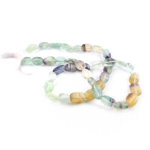 Purple/Green Rainbow Fluorite Beads Oval 7x9-7x12mm Strand Of 32+