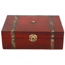 Wooden Jewellery Storage Box Vintage Treasure Chest Wood  Case Organiser Ring US