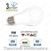 Lampadina led V-TAC 9W E27 bianco caldo 3000K VT-2011 dimmerabile 3 step globo