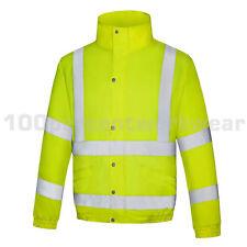 Size MEDIUM Aqua Yellow High Visibility Waterproof Bomber Jacket Coat Hi Vis Viz