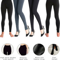Womens Fleece Lined Leggings Solid Winter Thick Warm Thermal Yoga Stretchy Pants