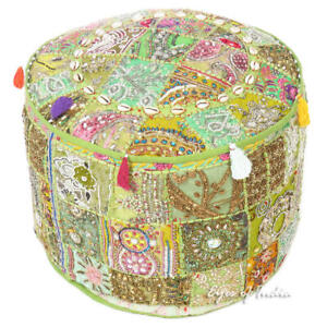 """17X12, 22X12"""" Multicolor Patchwork Round Pouf Pouffe Ottoman Cover Floor Seating"""