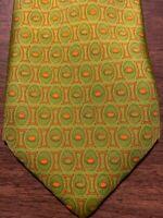 E3 Barneys New York Men's Tie 100% Silk Green Orange Foulard Made In Italy