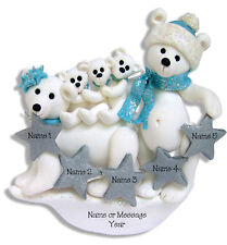 POLAR BEAR FAMILY FAMILY 5 Handmade Polymer Clay Personalized Christmas Ornament