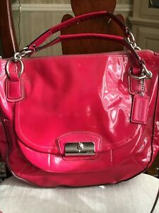 NWT COACH KRISTEN PATENT LEATHER ROUND SATCHEL STYLE 19297 RASPBERRY HOT PINK
