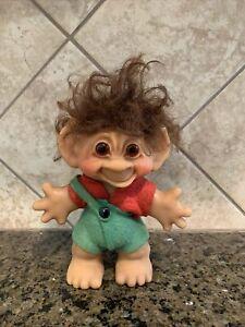 Vintage Thomas Dam Troll Doll Made in Denmark Felt Overalls Boy Brown Hair 1960s